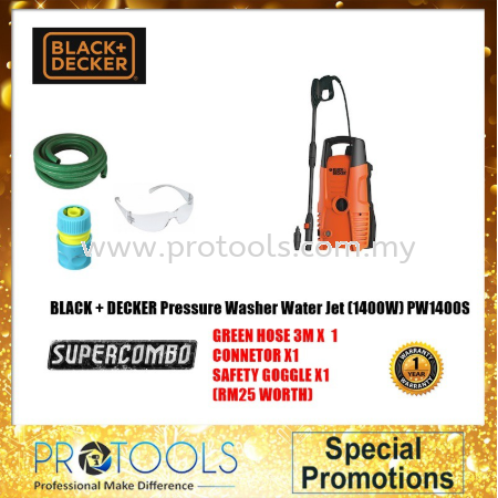 PW1400S-XD 1400W BLACK & DECKER HIGH PRESSURE WASHER FOC 3 THING! Black & Decker Pressure Washers Johor Bahru (JB), Malaysia, Skudai Supplier, Suppliers, Supply, Supplies | Protools Hardware Sdn Bhd