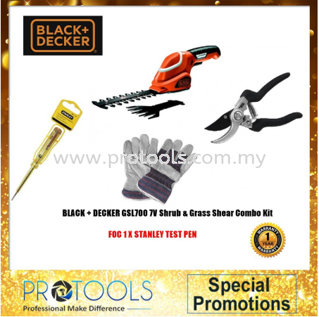 BLACK+DECKER GSL700 KIT, 7V SHEAR SHRUBBER COMBO KIT - 1 year warranty Black & Decker Outdoor Power Tools Johor Bahru (JB), Malaysia, Skudai Supplier, Suppliers, Supply, Supplies | Protools Hardware Sdn Bhd