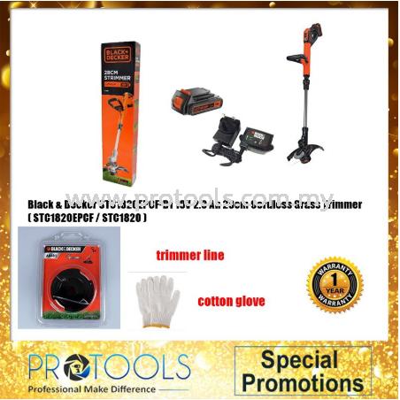 Black & Decker STC1820EPCF-B1 2X18V 2.0 Ah 28cm Cordless Grass Trimmer Black & Decker Outdoor Power Tools Johor Bahru (JB), Malaysia, Skudai Supplier, Suppliers, Supply, Supplies | Protools Hardware Sdn Bhd