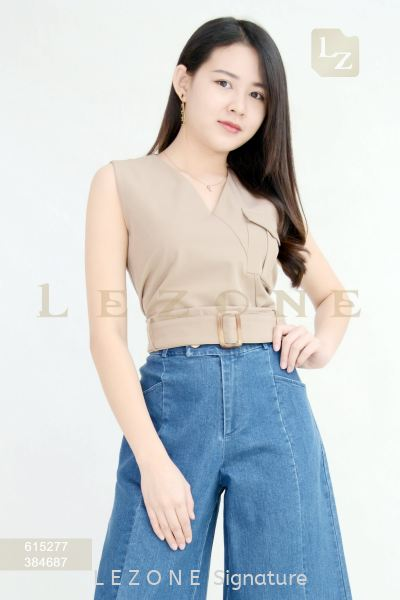 615277 V-NECK POCKET BLOUSE【1st 35% 2nd 45% 3rd 55%】 打折单衣 特 价 优 惠   Supplier, Suppliers, Supply, Supplies | LE ZONE Signature