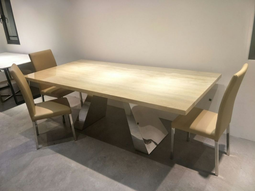 Beige Marble Dining Table Set With Chairs For 8 Seater