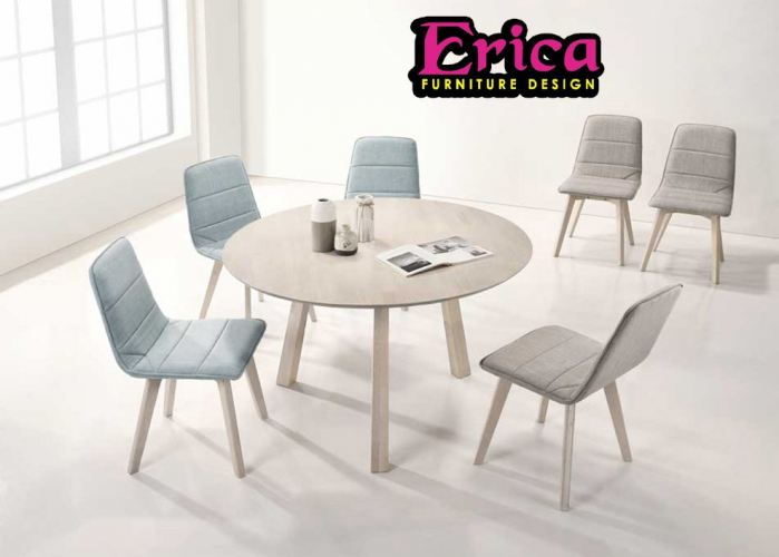 DINING SET BLUE / GREY ( 6 CHAIR + 1 TABLE )