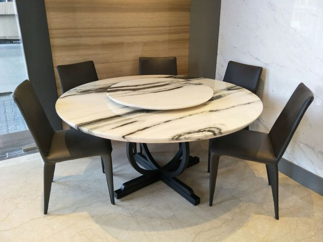 White Marble Dining Table Set With 6 Leather Chair