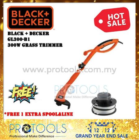 BLACK & DECKER GL300 300W STRING TRIMMER + SPOOL AND LINE - 1 YEAR WARANTY GRASS TRIMMER OUTDOOR EQUIPMENT Johor Bahru (JB), Malaysia, Senai Supplier, Suppliers, Supply, Supplies | Protools Hardware Sdn Bhd