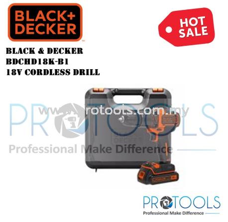 BDCHD18K-B1 BLACK AND DECKER 18V CORDLESS DRILL DRILL DRIVER CORDLESS POWER TOOLS Johor Bahru (JB), Malaysia, Senai Supplier, Suppliers, Supply, Supplies   Protools Hardware Sdn Bhd