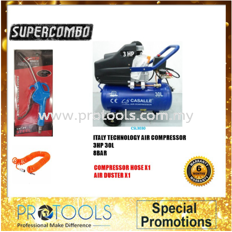 ITALY TECNOLOGY CASALLE AIR COMPRESSOR CSL3030 - 6 MONTH WARRANTY FOC 2 THING! Casalle Air Compressors & Inflators Johor Bahru (JB), Malaysia, Skudai Supplier, Suppliers, Supply, Supplies | Protools Hardware Sdn Bhd