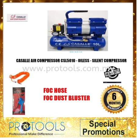 ITALY AIR COMPRESSOR CSL5010 - OILESS - SILENT COMPRESSOR - 6MONTH WARRANTY Casalle Air Compressors & Inflators Johor Bahru (JB), Malaysia, Skudai Supplier, Suppliers, Supply, Supplies | Protools Hardware Sdn Bhd