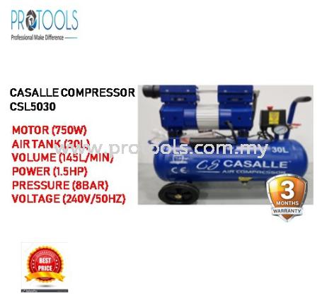 CASALLE AIR COMPRESSOR CSL5030 - OILESS - SILENT COMPRESSOR - 3 MONTH WARRANTY AIR COMPRESSOR / INFLATOR AUTOMOTIVE Johor Bahru (JB), Malaysia, Senai Supplier, Suppliers, Supply, Supplies | Protools Hardware Sdn Bhd