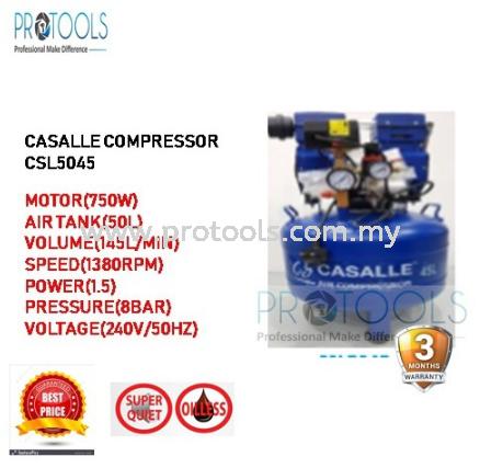 CASALLE AIR COMPRESSOR CSL5045 - OILESS - SILENT COMPRESSOR - 3 MONTH WARRANTY Casalle Air Compressors & Inflators Johor Bahru (JB), Malaysia, Skudai Supplier, Suppliers, Supply, Supplies | Protools Hardware Sdn Bhd