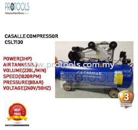 CASALLE AIR COMPRESSOR CSL7130 - BELT DRIVEN - 3 MONTH WARRANTY Casalle Air Compressors & Inflators Johor Bahru (JB), Malaysia, Skudai Supplier, Suppliers, Supply, Supplies   Protools Hardware Sdn Bhd