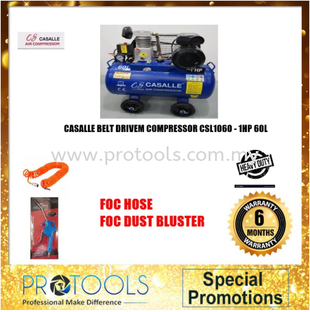 ITALY AIR COMPRESSOR CSL1060 -BELT DRIVEN 1HP 60L 8BAR- 6 MONTH WARRANTY Casalle Air Compressors & Inflators Johor Bahru (JB), Malaysia, Skudai Supplier, Suppliers, Supply, Supplies | Protools Hardware Sdn Bhd