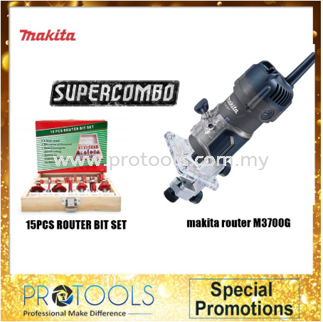 """MAKITA M3700G 6.35MM (1/4"""") 530W MAKITA WOOD TRIMMER (WITH 15PCS ROUTER BIT) 12 MONTH WARRANTY TRIMMER CORDED POWER TOOLS Johor Bahru (JB), Malaysia, Senai Supplier, Suppliers, Supply, Supplies 
