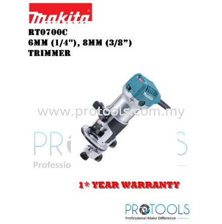 MAKITA RT0700C (WITHOUT GUILD) 6mm (1/4∪), 8mm (3/8§) 每 Trimmer - 1 YEAR WARRANTY TRIMMER CORDED POWER TOOLS Johor Bahru (JB), Malaysia, Senai Supplier, Suppliers, Supply, Supplies   Protools Hardware Sdn Bhd
