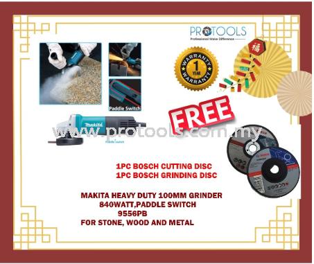 "MAKITA ANGLE GRINDER 9556PB 100MM (4""') - FOC 1 BOSCH CUT AND GRIND Makita Power Tools Grinders Johor Bahru (JB), Malaysia, Skudai Supplier, Suppliers, Supply, Supplies   Protools Hardware Sdn Bhd"