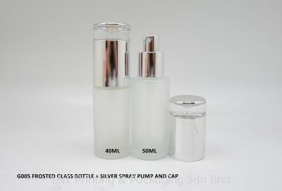 G005 FROSTED GLASS BOTTLE + SILVER SPRAY PUMP & CAP