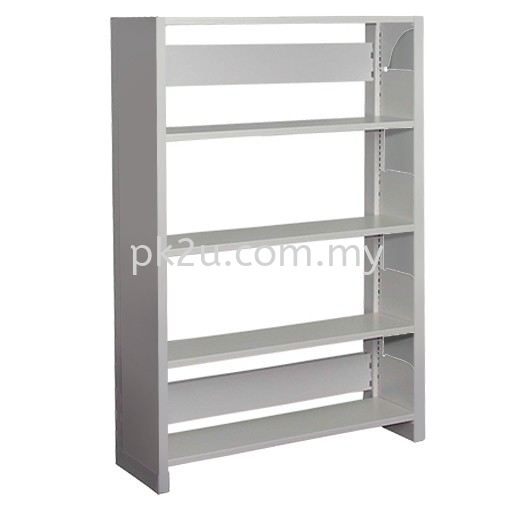Single Sided Library Shelving With Steel End Panel - 4 Shelves (A1-SSLS-4L-SP) Library Shelving / Library Equipment Steel Furniture Johor Bahru (JB), Malaysia Supplier, Manufacturer, Supply, Supplies | PK Furniture System Sdn Bhd