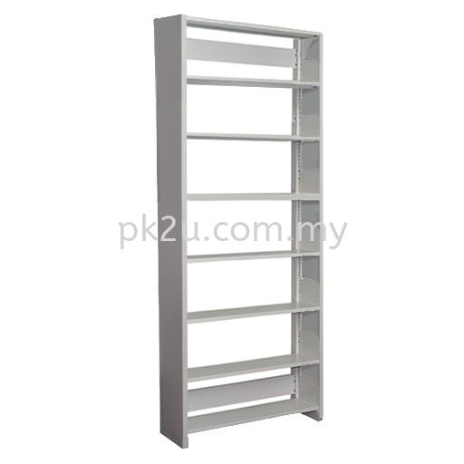 Single Sided Library Shelving With Steel End Panel - 7 Shelves (A1-SSLS-7L-SP) Library Shelving Library Shelving / Library Equipment Steel Furniture Johor Bahru (JB), Malaysia Supplier, Manufacturer, Supply, Supplies   PK Furniture System Sdn Bhd