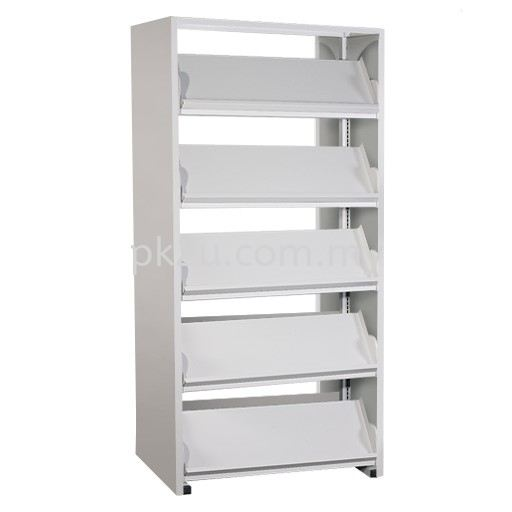 Double Sided Library Magazine Rack - 10 Shelves (G2-DSLM-5L-OP) Library Shelving Library Shelving / Library Equipment Steel Furniture Johor Bahru (JB), Malaysia Supplier, Manufacturer, Supply, Supplies   PK Furniture System Sdn Bhd