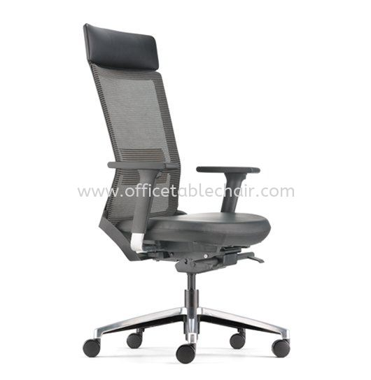 ROYSES HIGH BACK MESH CHAIR WITH ALUMINIUM HIGH BASE AND ALUMINIUM ADJUSTABLE ARMREST ARC 8520L ROYSES (LEATHER) ROYSES Office Mesh Chairs Kuala Lumpur (KL), Malaysia, Selangor, Petaling Jaya (PJ) Supplier, Suppliers, Supply, Supplies | Asiastar Furniture Trading Sdn Bhd