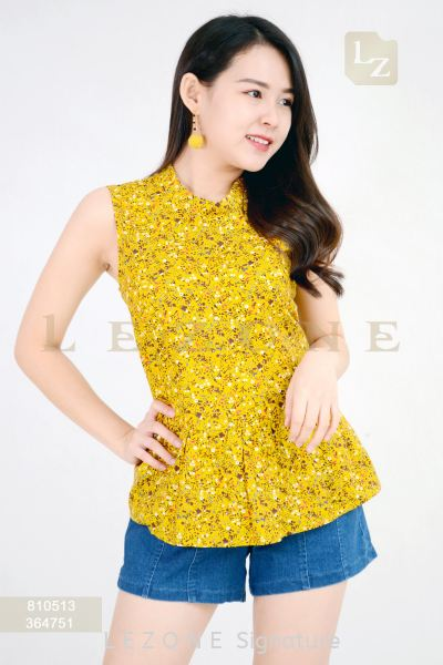 810513 PRINTED FLORAL BLOUSE¡¾1st 10% 2nd 20% 3rd 30%¡¿ Sleeveless Tops T O P Selangor, Kuala Lumpur (KL), Malaysia, Serdang, Puchong Supplier, Suppliers, Supply, Supplies | LE ZONE Signature