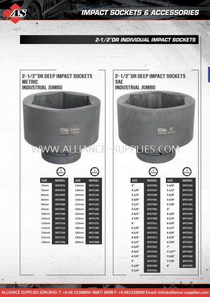 "SP Individual 2-1/2"" Impact Sockets & Accessories 2.04 SP Impact Sockets and Accessories 02.SP TOOLS Malaysia Melaka Johor Selangor Supplier, Supply, Supplies 