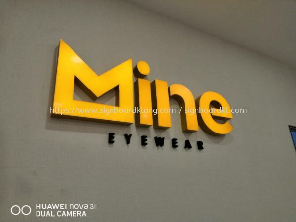 Mine eye wear 3D led channel box up lettering indoor signage at bandar botanic bukit tinggi klang Channel Led 3D Signage Selangor, Malaysia Supply, Manufacturers, Printing | Great Sign Advertising (M) Sdn Bhd