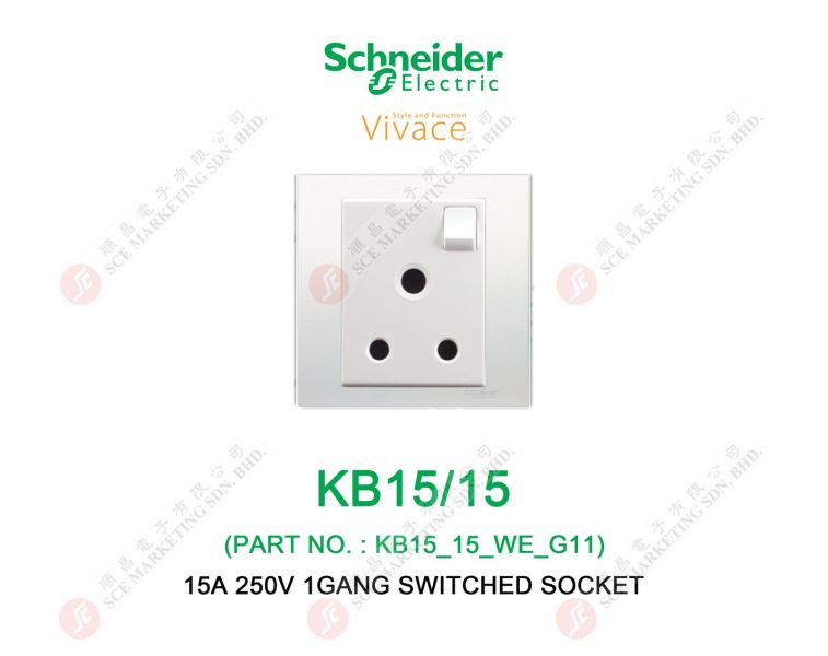SCHNEIDER VIVACE KB15/15 SWITCHED SOCKET SWITCHED SOCKET ELECTRICAL Johor Bahru, JB, Johor. Supplier, Suppliers, Supplies, Supply | SCE Marketing Sdn Bhd