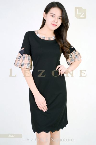 2632 CONTRAST PLAID DRESS ¡¾2ND 50%¡¿ Sleeved Dresses D R E S S  Selangor, Kuala Lumpur (KL), Malaysia, Serdang, Puchong, Cheras Supplier, Suppliers, Supply, Supplies | LE ZONE Signature