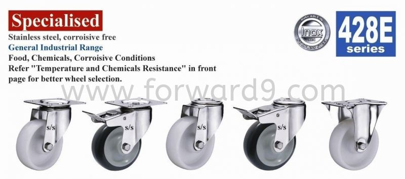 428E Series Top Plate Nylon Stainless Steel Castor Wheel  Stainless Steel Castor  Castors Wheel Johor Bahru (JB), Malaysia, Singapore, Mount Austin Supplier, Manufacturer, Supply, Supplies | Forward Solution Engineering Sdn Bhd