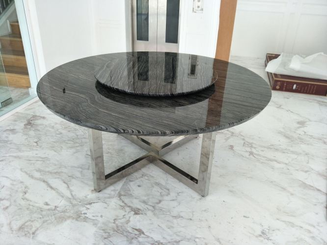 Modern Dining Table - Antique Wood Marble