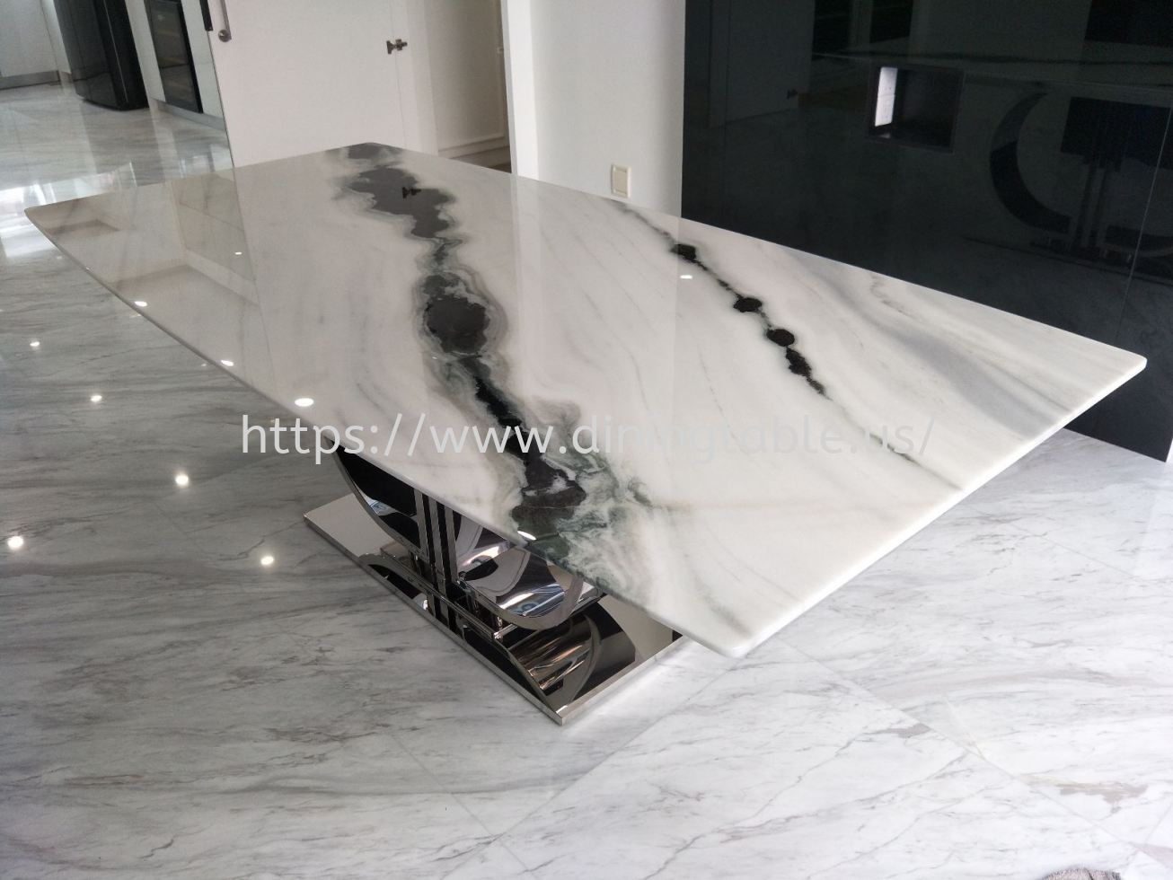 8 Seater White Marble Dining Table