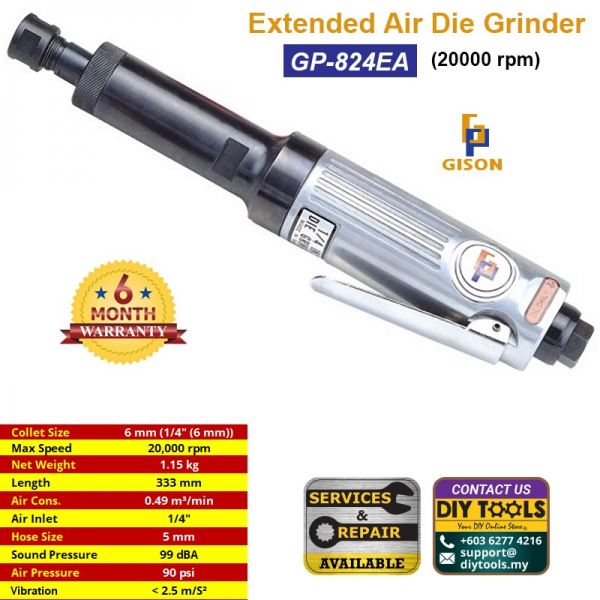 GISON Extended Air Die Grinder (20000 rpm) GP-824EA Extended Air Die Grinder Air Tools Kuala Lumpur (KL), Malaysia, Selangor, Kepong Supplier, Suppliers, Supply, Supplies | HHM Machinery & Instruments Sdn Bhd