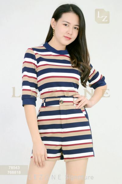 78543 + 768818 Striped Sleeve Blouse With Short Pant Suit J U M P S U I T  /  S U I T S Selangor, Kuala Lumpur (KL), Malaysia, Serdang, Puchong  | LE ZONE Signature