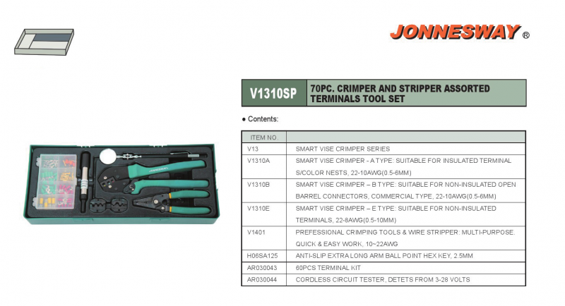 70PCS CRIMPER AND STRIPPER ASSORTED TERMINALS TOOL KIT P/N: V1310SP Tools Set For Trolley  Tool Trolley & Mechanic Tools Set  Jonnesway Selangor, Malaysia, Kuala Lumpur (KL), Puchong Supplier, Suppliers, Supply, Supplies | Bestool (M) Sdn Bhd