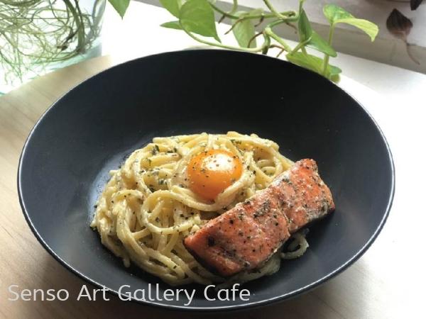 Carbonara Salmon spaghetti  Food Cafe Johor Bahru (JB), Malaysia Workshop | Senso Art Gallery Cafe