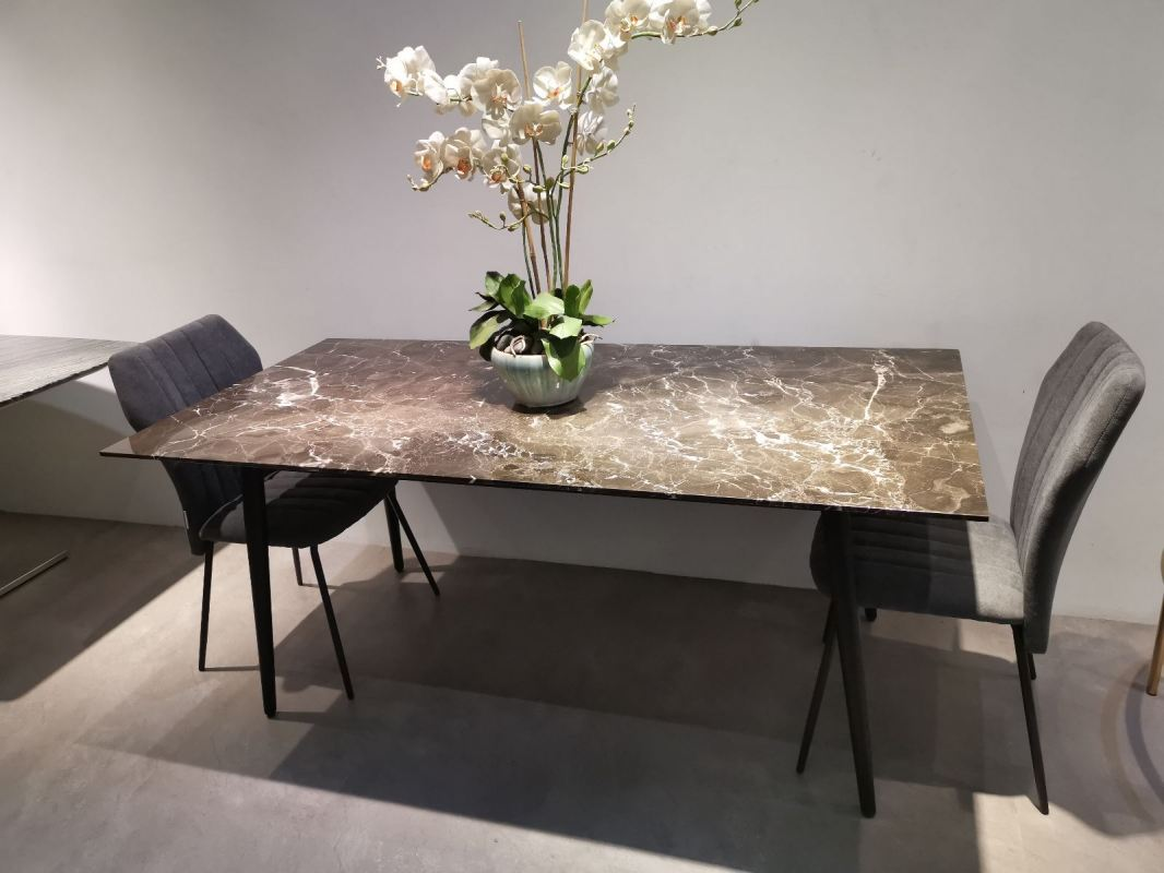 6 Seater Marble Dining Table - Oriental Brown Marble (No Coating)