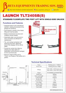 LAUNCH TLT040SB(S) STANDARD FLOORPLATE TWO POST LIFT WITH SINGLE-SIDE UNLOCK