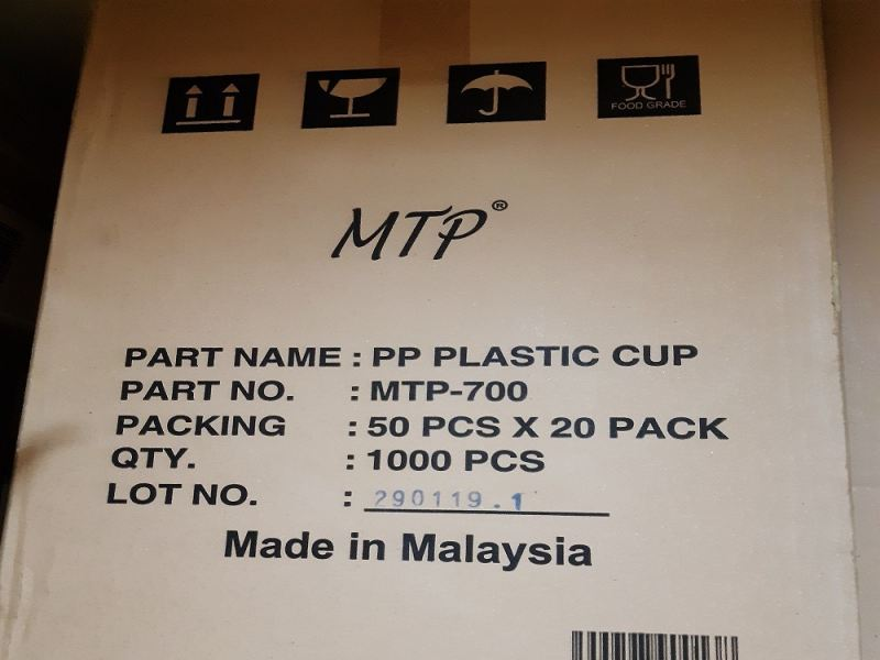 MTP PP CUP 22OZ (700ML) 1000PCS/CTN GLOVE AND OTHERS Kuala Lumpur (KL), Malaysia, Selangor, Kepong Supplier, Suppliers, Supply, Supplies | RS Peck Trading