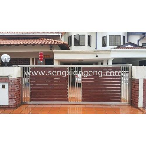 Stainless Steel Sliding Main Gate Stainless Steel Main Gate Stainless Steel  Johor Bahru JB Electrical Works, CCTV, Stainless Steel, Iron Works Supply Suppliers Installation  | Seng Xiang Electrical & Steel Sdn Bhd