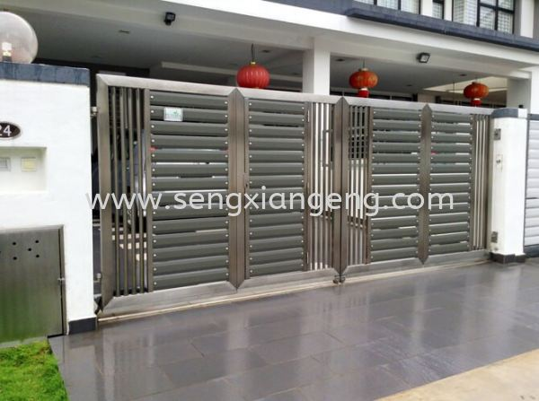 Stainless Steel Swing Main Gate Stainless Steel Main Gate Stainless Steel  Johor Bahru JB Electrical Works, CCTV, Stainless Steel, Iron Works Supply Suppliers Installation  | Seng Xiang Electrical & Steel Sdn Bhd