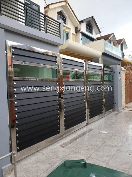 Stainless Steel Folding Main Gate Stainless Steel Main Gate Stainless Steel  Johor Bahru JB Electrical Works, CCTV, Stainless Steel, Iron Works Supply Suppliers Installation    Seng Xiang Electrical & Steel Sdn Bhd