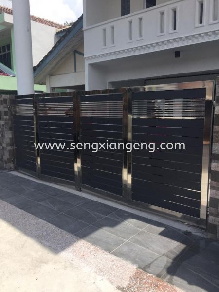 Stainless Steel Folding Main Gate Stainless Steel Main Gate Stainless Steel  Johor Bahru JB Electrical Works, CCTV, Stainless Steel, Iron Works Supply Suppliers Installation  | Seng Xiang Electrical & Steel Sdn Bhd