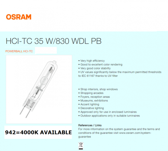 OSRAM POWERBALL HCI-TC 35W/945 WDL PB G8.5 COOL WHITE 4200K