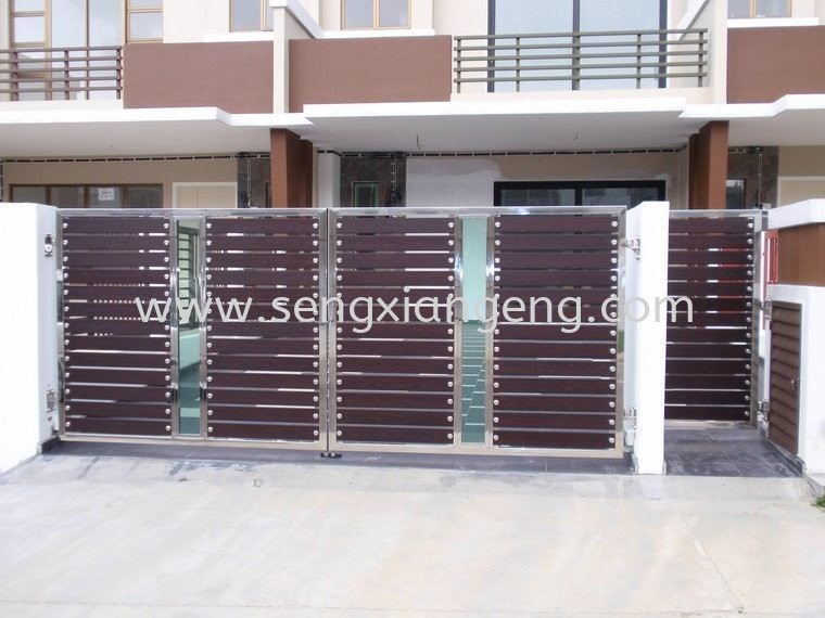 Stainless Steel Swing Main Gate with small main door Stainless Steel Main Gate Stainless Steel  Johor Bahru JB Electrical Works, CCTV, Stainless Steel, Iron Works Supply Suppliers Installation  | Seng Xiang Electrical & Steel Sdn Bhd