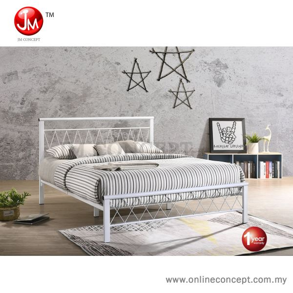 JM Concept SWW Starlight Queen Size Base Metal Bed (White/Copper) Queen  Metal Bedframe Muar, Johor, Malaysia Furniture, Supplier, Supply, Supplies   Online Concept Store Sdn Bhd