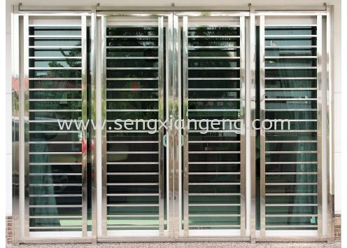 Stainless Steel Sliding Front Door Stainless Steel Door Stainless Steel  Johor Bahru JB Electrical Works, CCTV, Stainless Steel, Iron Works Supply Suppliers Installation  | Seng Xiang Electrical & Steel Sdn Bhd