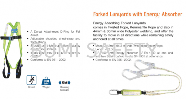 Full Body Harness Double Lanyard Ce Approved Fall Protection Selangor, Kuala Lumpur (KL), Puchong, Malaysia Supplier, Suppliers, Supply, Supplies | Bumi Nilam Safety Sdn Bhd