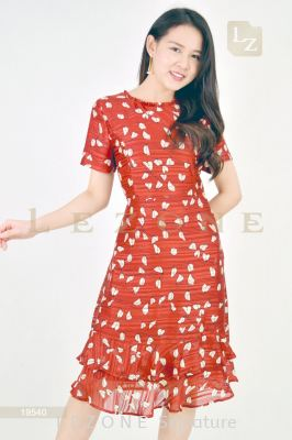 19540 SATIN PRINTED DRESS��1st 35% 2nd 45% 3rd 55%��