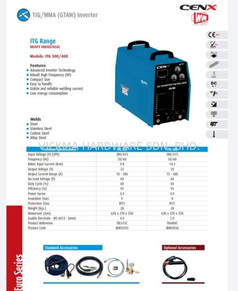 CENX WIN ITG RANGE INVERTER MACHINE ITG 300 / 400 CENX WIM WELDING EQUIPMENT ACCESSORIES Johor Bahru (JB), Malaysia, Mount Austin Supplier, Suppliers, Supply, Supplies | VICKMA HARDWARE SDN. BHD.
