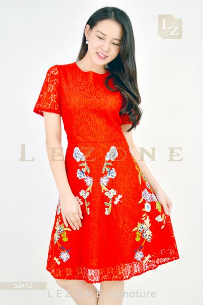 32412 PLUS SIZE LACE EMBROIDERED SLEEVE DRESS¡¾2ND 50%¡¿ Plus Size Dresses D R E S S  Selangor, Kuala Lumpur (KL), Malaysia, Serdang, Puchong, Cheras Supplier, Suppliers, Supply, Supplies | LE ZONE Signature